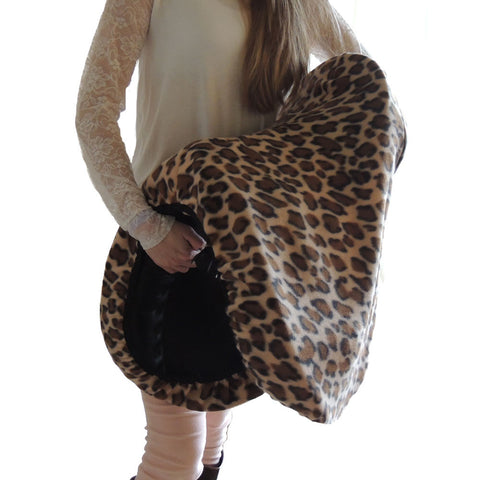 Leopard print fleece saddle cover