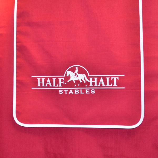 Stall drape banner with screen print