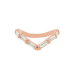 14K Rose Gold Baguette Diamond V-Shaped Ring