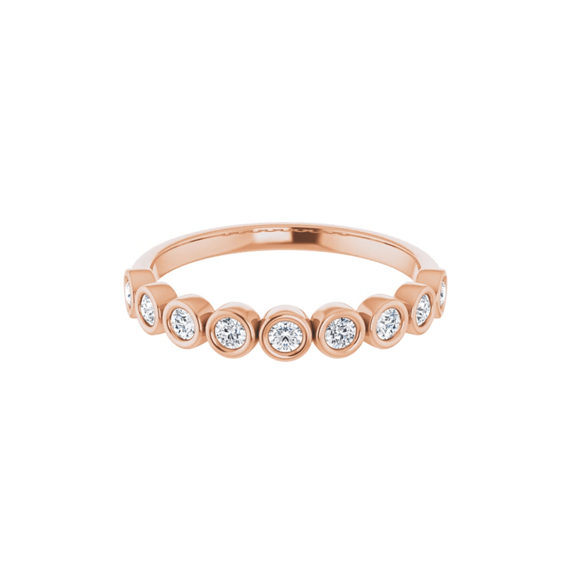 14K Rose Gold Bezel Set Round Diamond Band