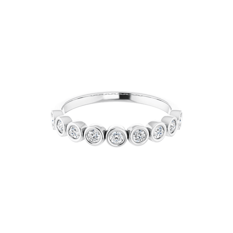 14K White Gold Bezel Set Round Diamond Band
