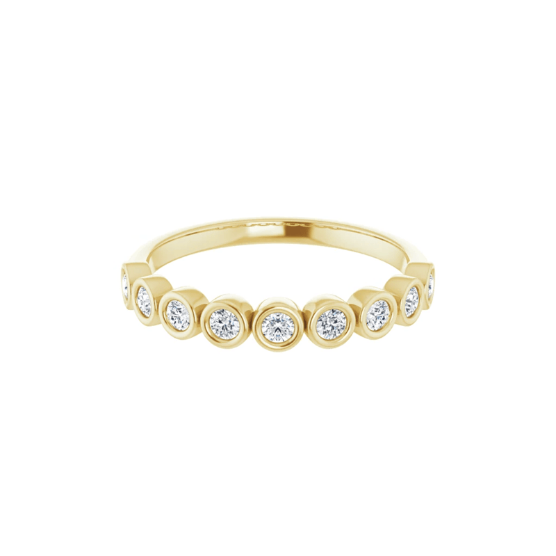 14K Yellow Gold Bezel Set Round Diamond Band