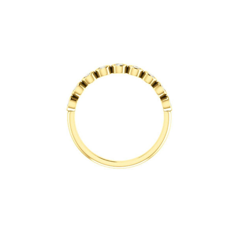 Above View of 14K Yellow Gold Bezel Set Round Diamond Band