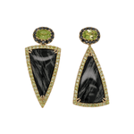Black Jade and Peridot Asymmetrical Earrings