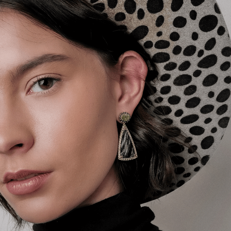 Black Jade and Peridot Earrings on model