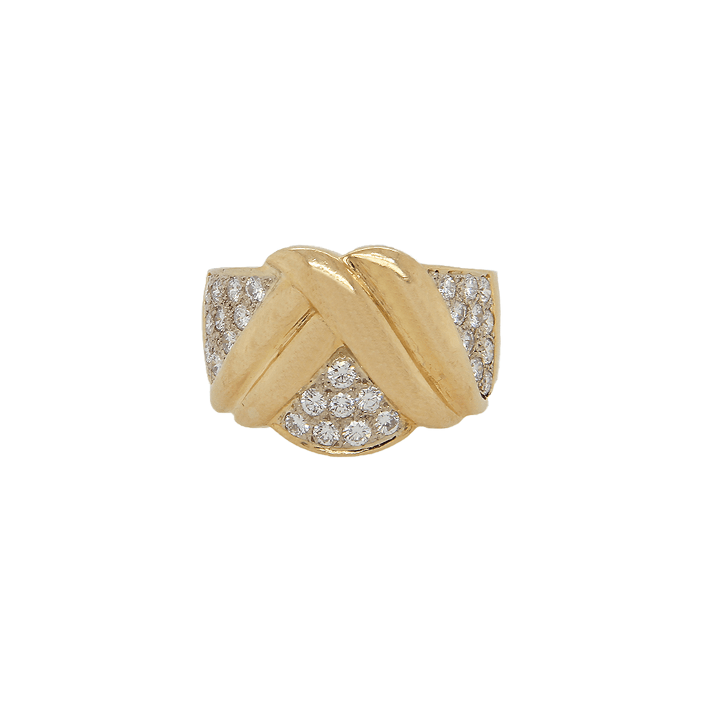 14K Yellow Gold Cocktail Diamond Wave Ring