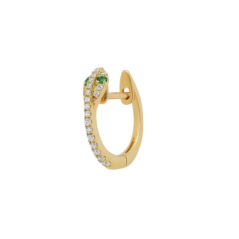 Mini Diamond Snake Hoop - Emerald Eyes | .85GMS .09CT | Single