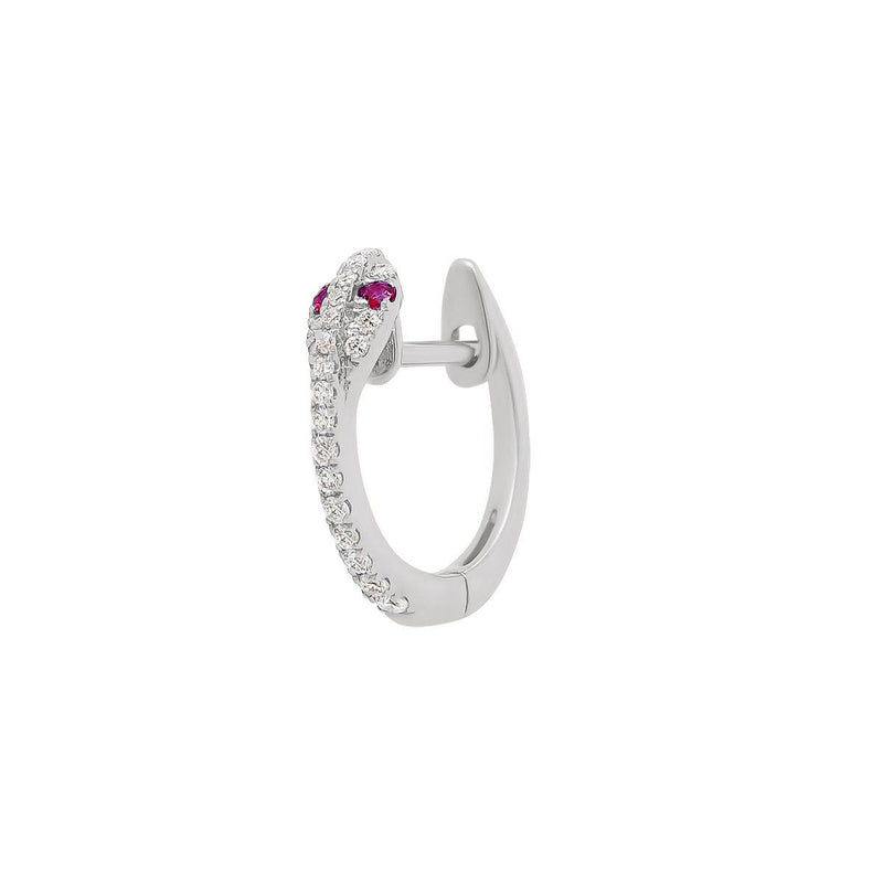 Mini Diamond Snake Hoop - Ruby Eyes | .85GMS .09CT | Single