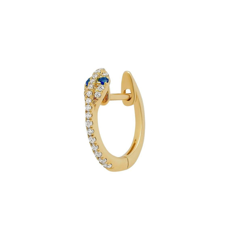 Mini Diamond Snake Hoop - Sapphire Eyes | .85GMS .09CT | Single