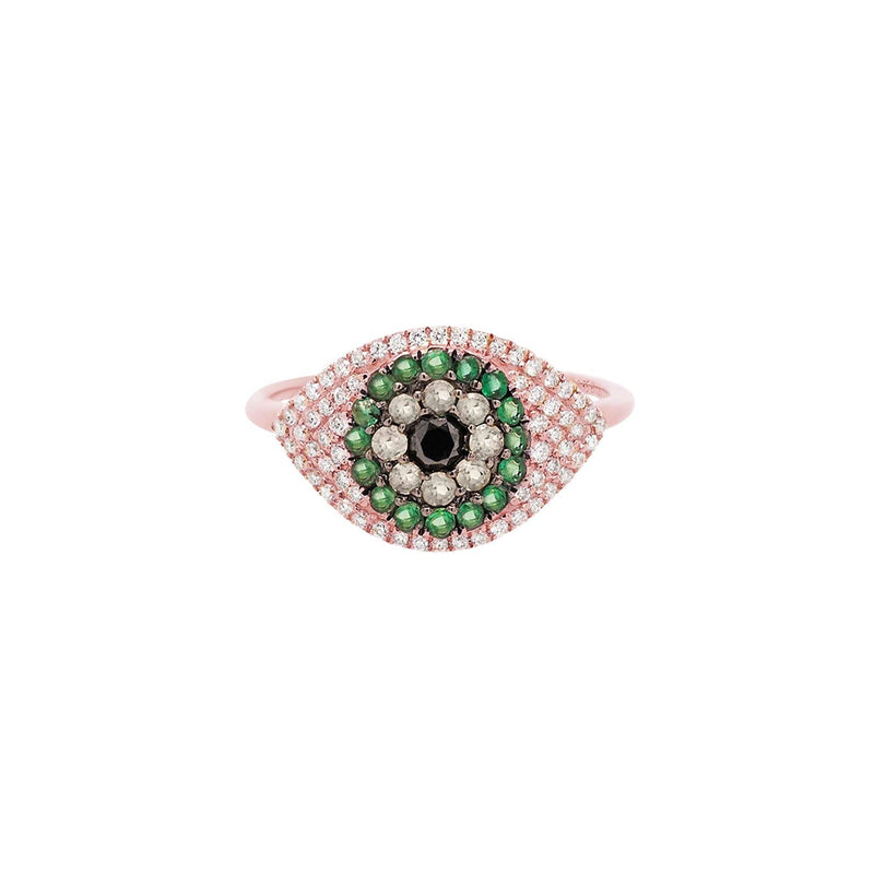 Evil Eye Protector Ring | 2.63GMS .41CT | Brown & Emerald
