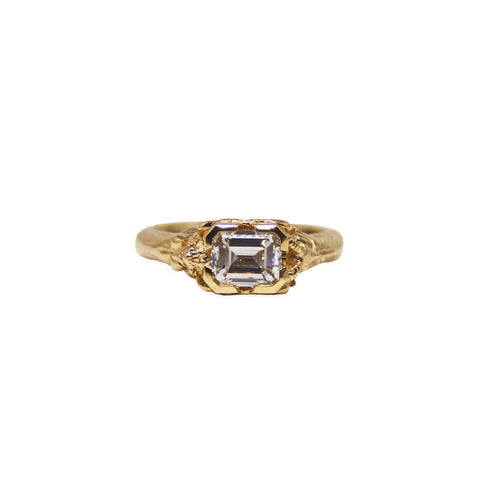 Baguette and Triangle Accent Engagement Ring