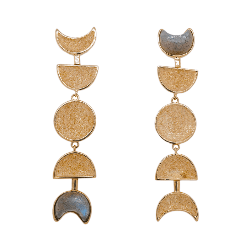 Moon Phase Earrings - Labradorite | 12.6GMS 1CT