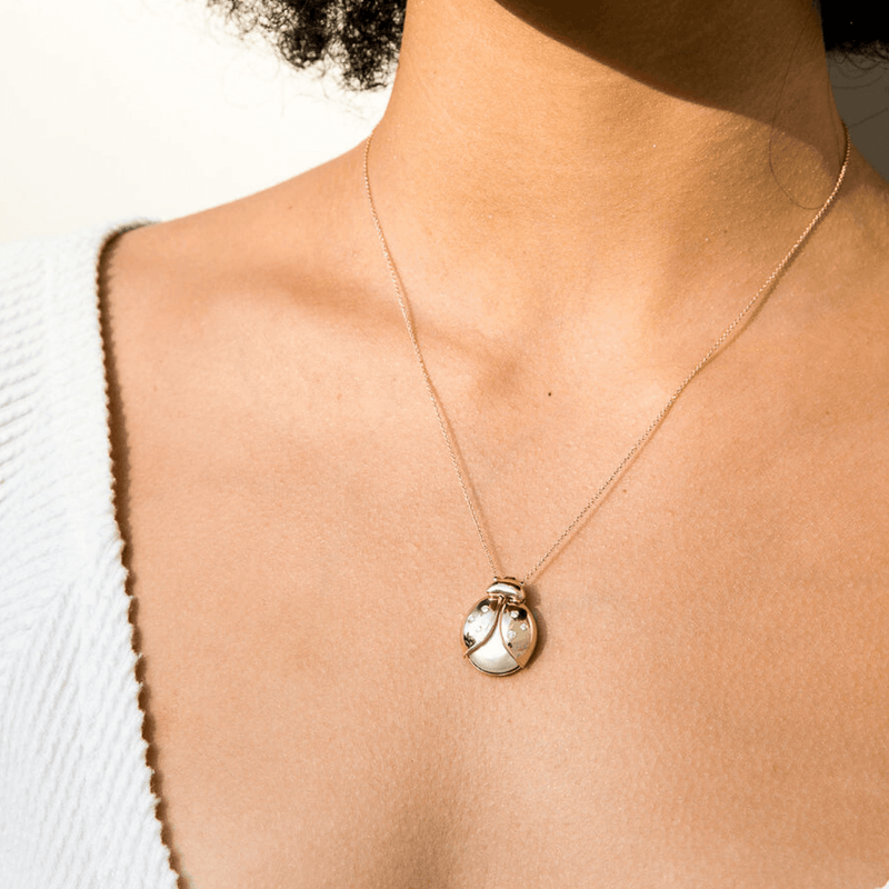 Pearl Lady Bug Necklace | 5.5GMS .10CT