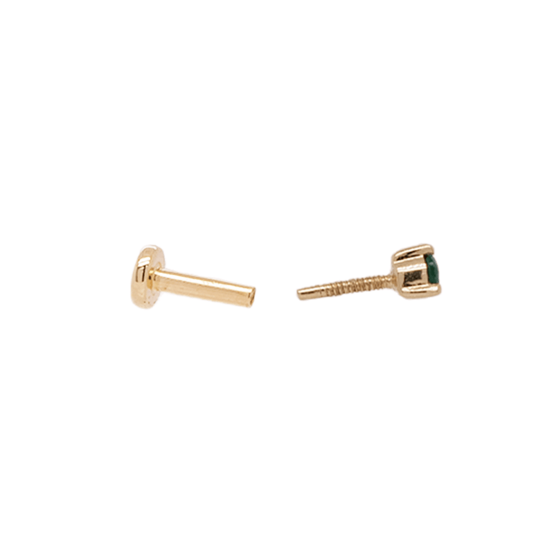 Petite Emerald Threader Stud | .40GMS .06CT | Single