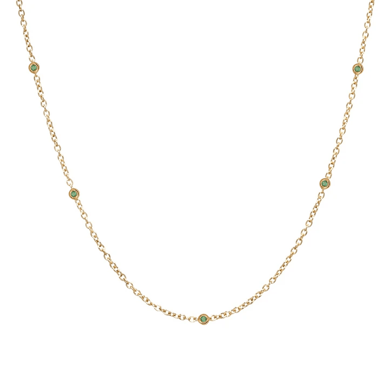 Sacred 5 Emerald Station Necklace | 1.40GMS .10CT
