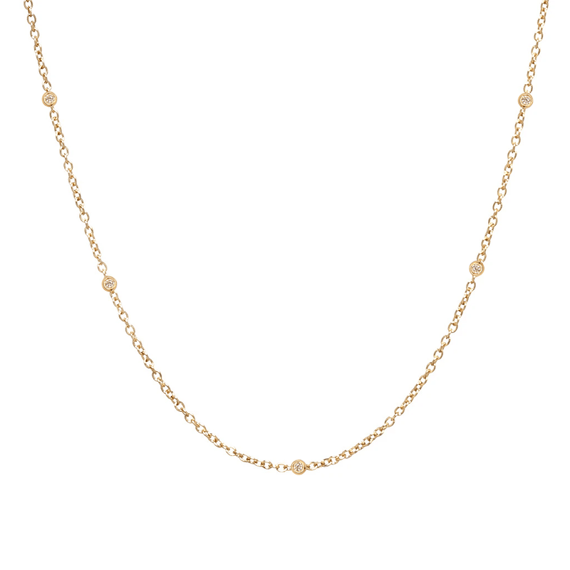 Sacred 5 Diamond Station Necklace | 1.40GMS .10CT
