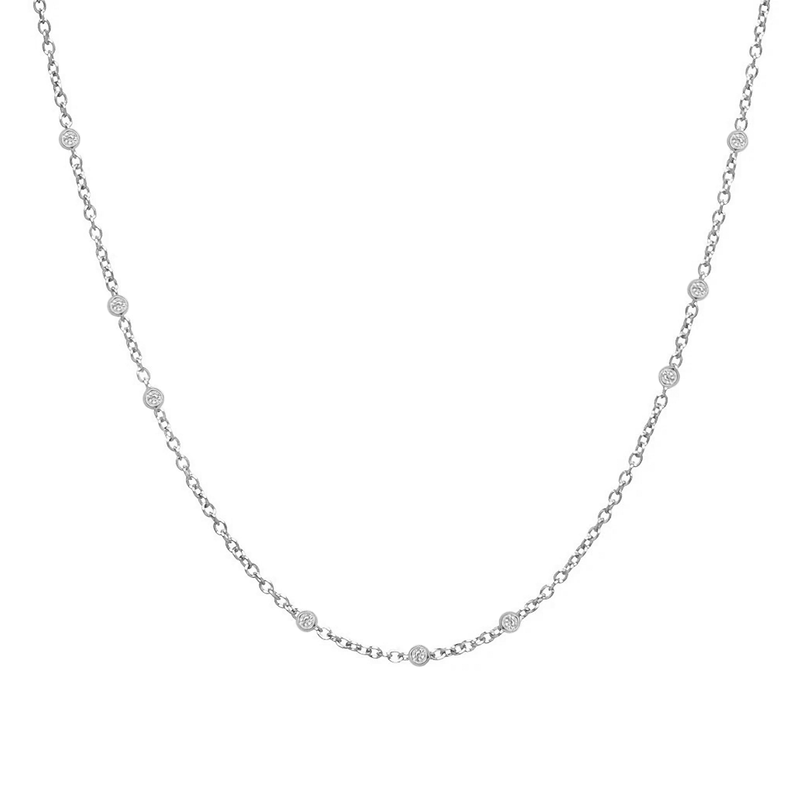 Scattered Bezel Set Diamond Necklace | 1.60GMS .25CT