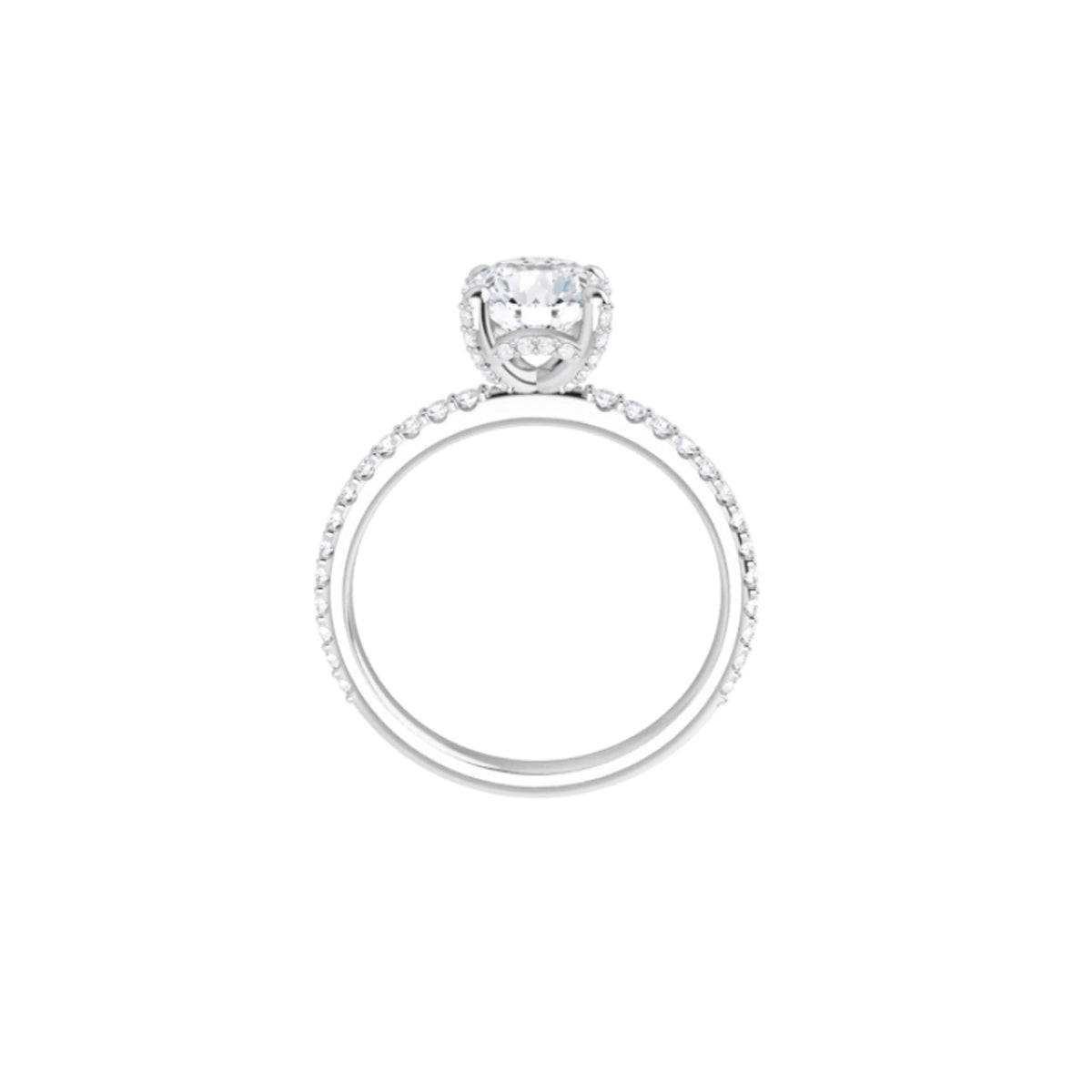 Solitaire Engagement with Diamond Accented Band