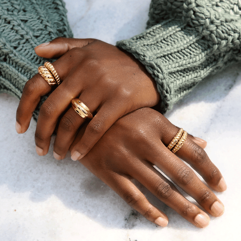 Timbre Ring in Gold by Porter Lyons on hand