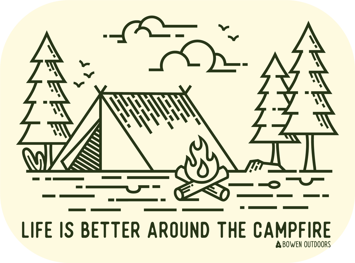 Life is Better Around the Campfire - Cream Sticker