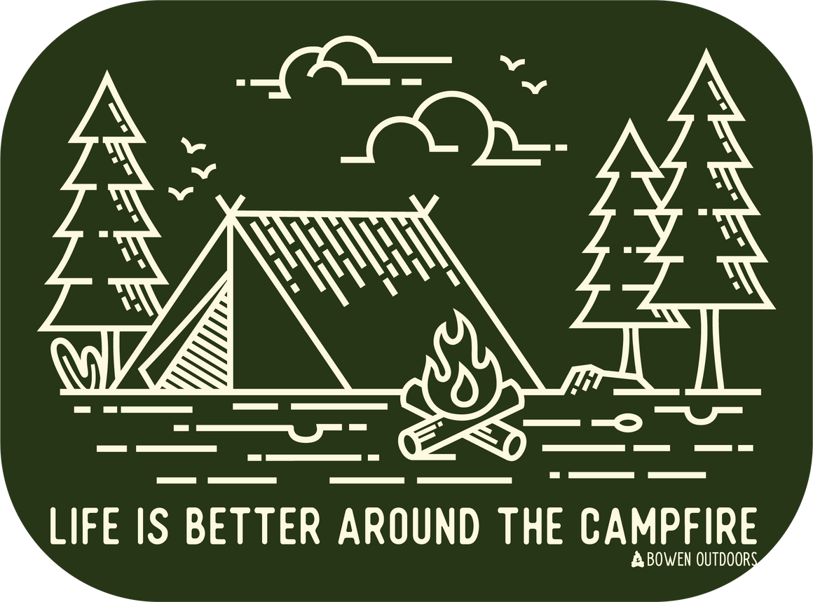 Life is Better Around the Campfire Green Sticker