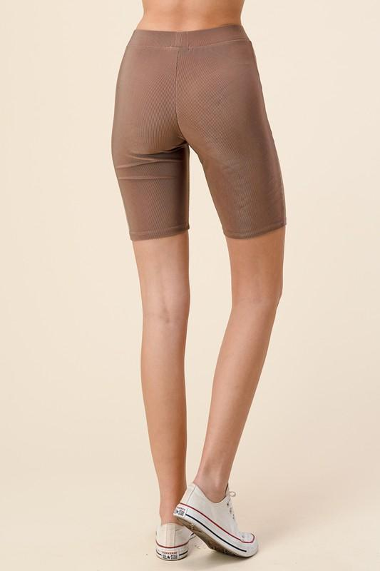 Ribbed Biker Shorts - Taupe