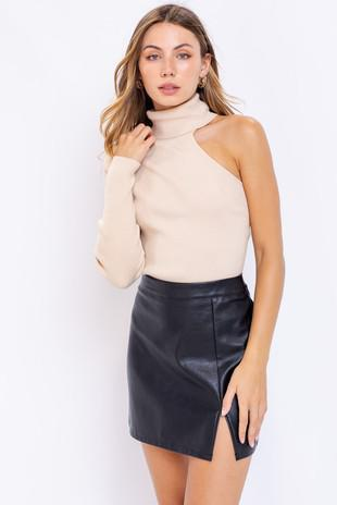 One Shoulder Mock Neck Sweater