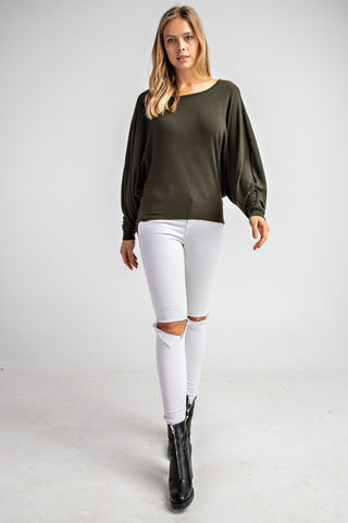 Olive Dolman Sleeve Top