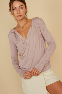 Mauve Cross-over Top