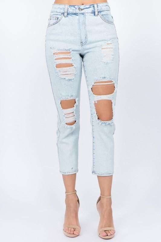High Waist Cut Out Cropped Jeans