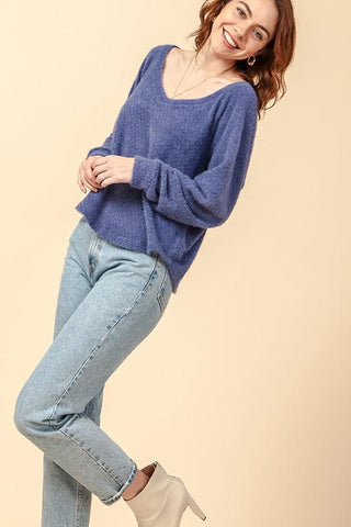 V - Neck Raglan Top - Indigo