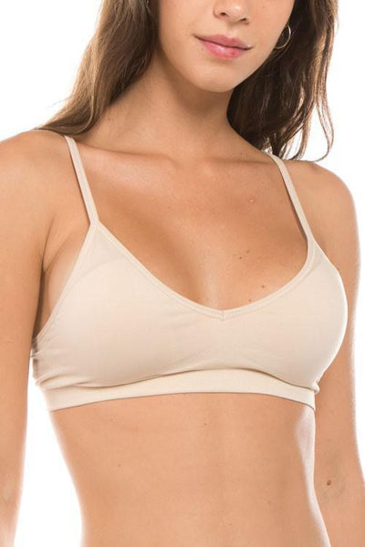 Seamless Adjustable Strap Bralette - Dove Gray & White