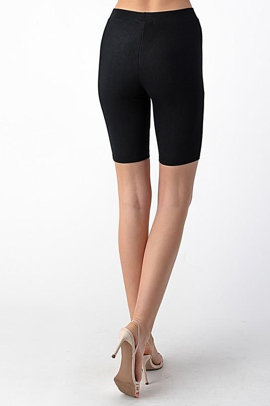Ribbed Biker Shorts - Black
