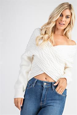 Cozy Cable Knit Sweater - Black & White