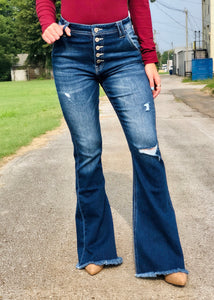 Julie Button Fly Kan Can Flare Jeans