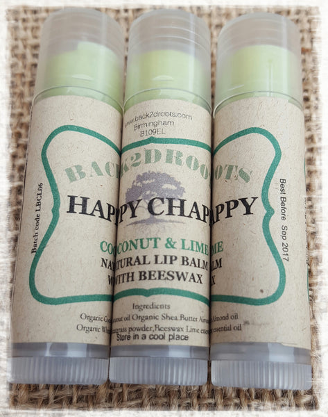 Happy Chap Organic Lip Balm  Coconut & Lime - skincare - Back2dRoots