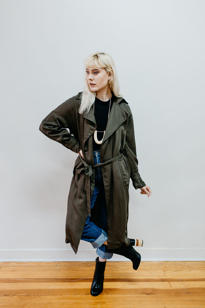 Stevie Olive Trench Coat