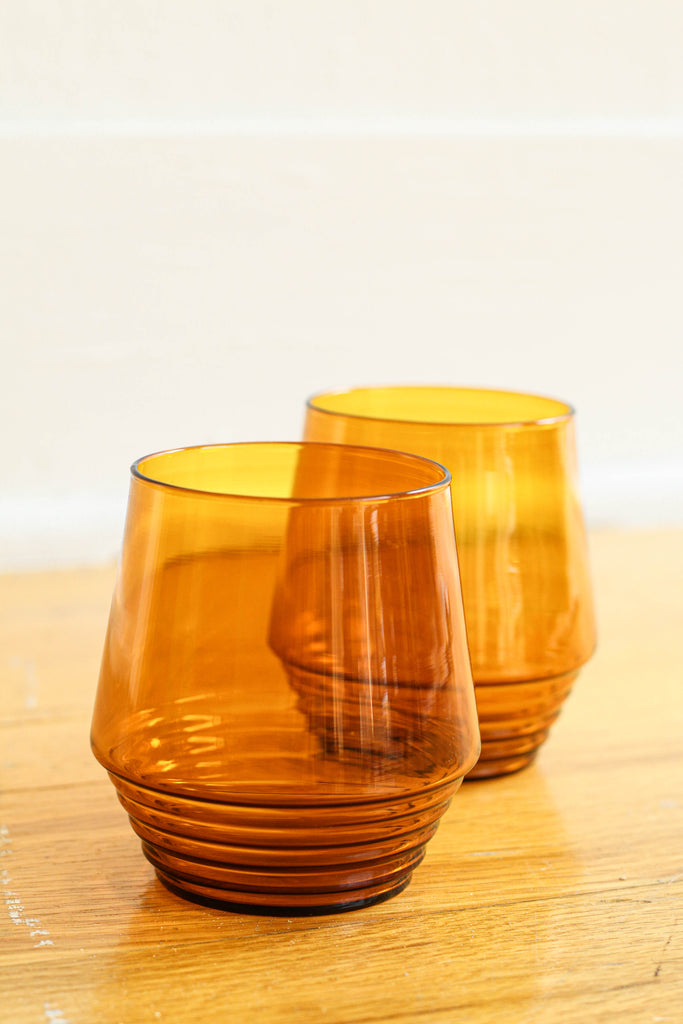 Amber Deco Cocktail Glasses