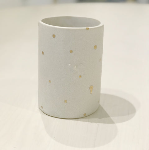 Gold Polka Dot Vase with Mini Face (Matt White) by Rami Kim