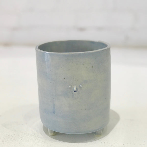 Baby Blue Planter with Mini Face by Rami Kim