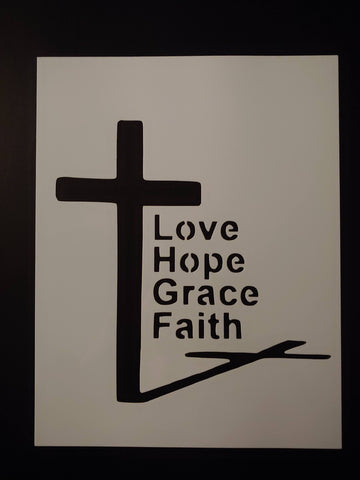 Jesus Cross Love Hope Grace Faith Custom Stencil