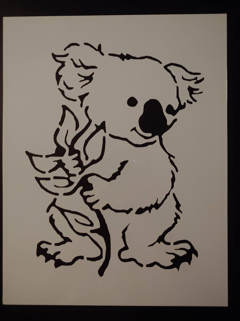 Koala Bear Eating Bamboo Custom Stencil - FAST FREE SHIPPING