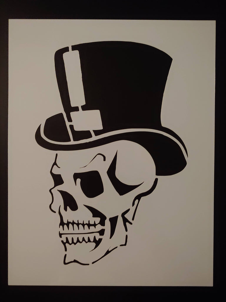 Skull With Top Hat Evil Halloween Custom Stencil - FAST FREE SHIPPING