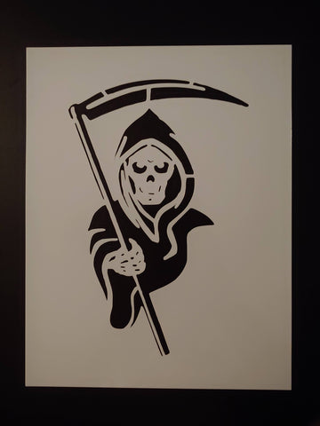 Grim Reaper with Scythe Custom Stencil - FAST FREE SHIPPING