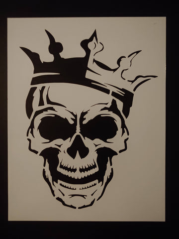 Crowned Skull With Crown Evil Halloween Custom Stencil - FAST FREE SHIPPING