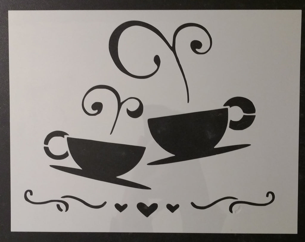 Coffee Tea Cups Cup Kitchen Custom Stencil