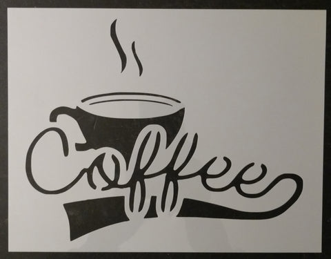 Coffee with Cup Kitchen Custom Stencil