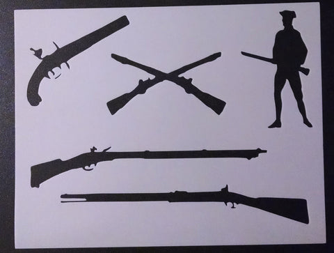 Colonial Musket Pistol Rifle - Stencil
