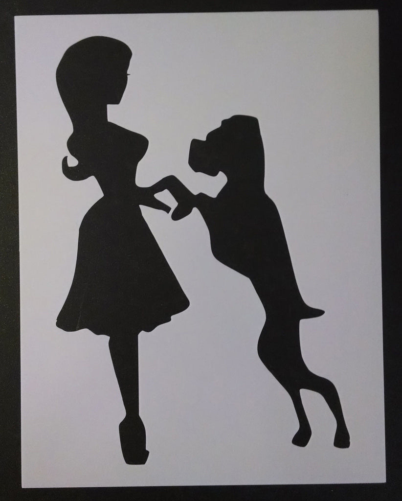 Dog and Woman - Stencil