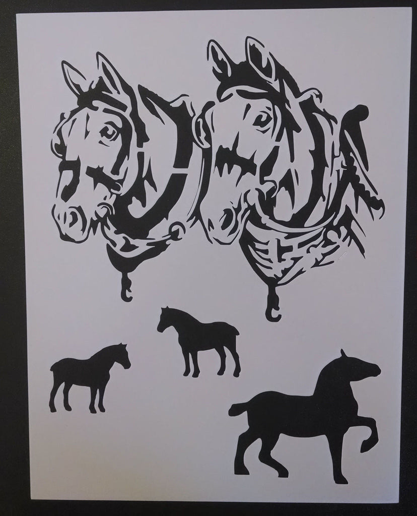 Draft Horses In Harness - Stencil